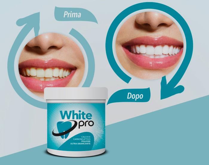 white pro polvere sbiancante per denti